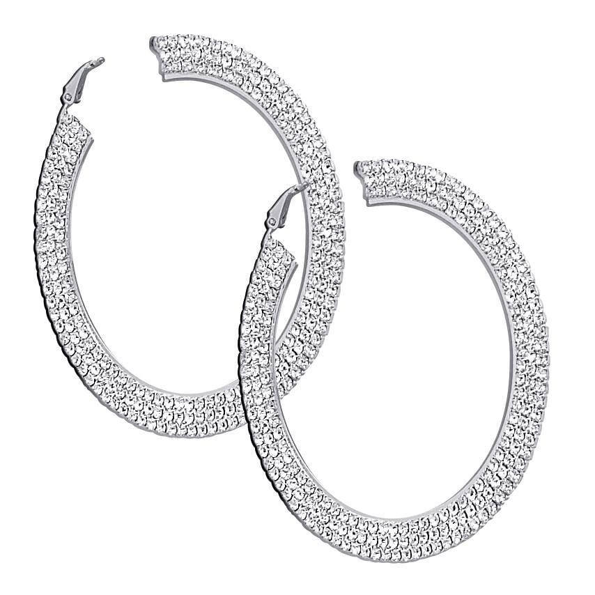 PalmBeach Silvertone Clear Crystal Hoop Earrings Bold Fashion