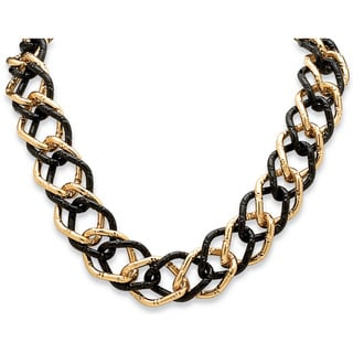 Toscana Collection Goldtone and Black Ruthenium Curb Link Necklace