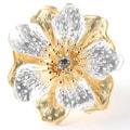 PalmBeach Two-tone Crystal Flower Adjustable Ring Bold Fashion