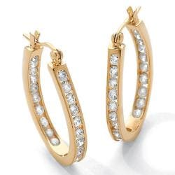 Ultimate CZ 14k Goldplated Clear Cubic Zirconia Hoop Earrings