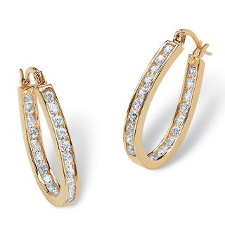 PalmBeach 2.52 TCW Round Cubic Zirconia Inside-Out Hoop Earrings in Yellow Gold Tone Classic CZ