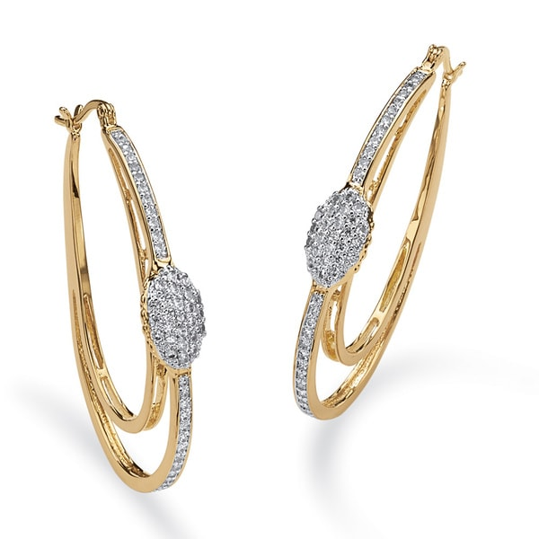 PalmBeach 1.25 TCW Cubic Zirconia Double Oval Hoop Earrings in 14k Gold-Plated Glam CZ