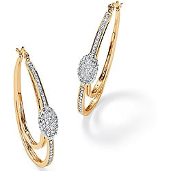 Ultimate CZ 14k Goldplated Cubic Zirconia Oval Hoop Earrings