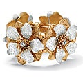 Two-tone Clear Crystal High-polished Flower Stretch Bracelet