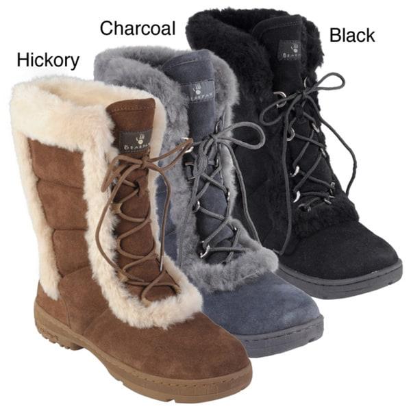Bearpaw Women's 'Alyssia' Suede Sheepskin-trim Lace-up Boots