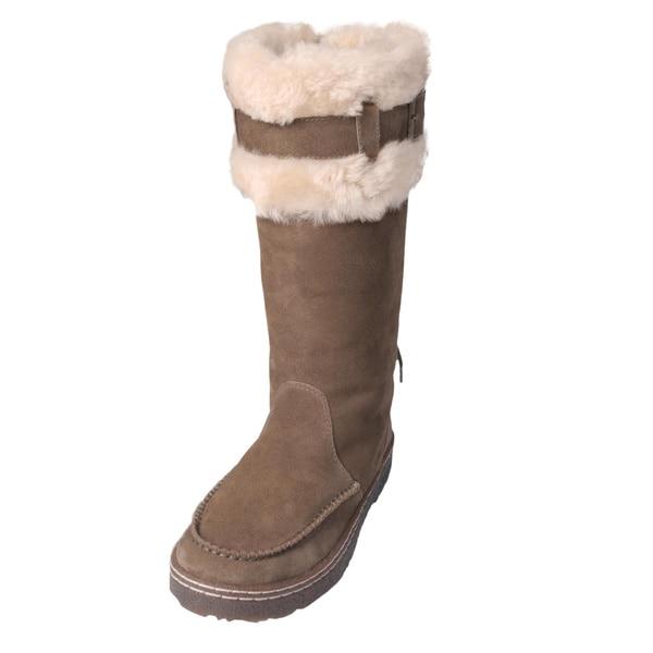 Bearpaw Women's 'Siren' Suede Sheepskin-lined Buckle Lace-up Boots