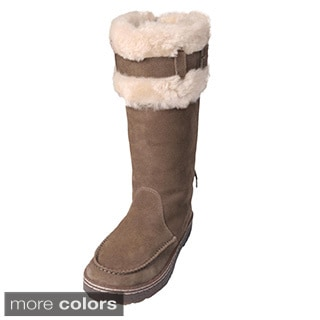 Bearpaw Women's 'Siren' Suede Sheepskin-lined Buckle Lace-up Boots