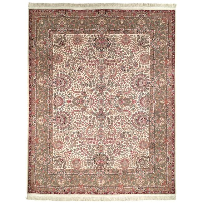 "Asian Hand-Knotted Royal Kerman Ivory Wool Area Rug (5' x 7'6"")"