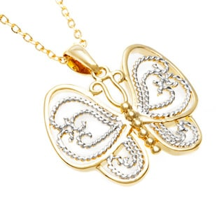 Toscana Collection 18k Two-tone Gold Overlay Butterfly Necklace