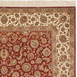 Asian Hand-knotted Royal Kerman Rust and Ivory Wool Rug (5' x 7')