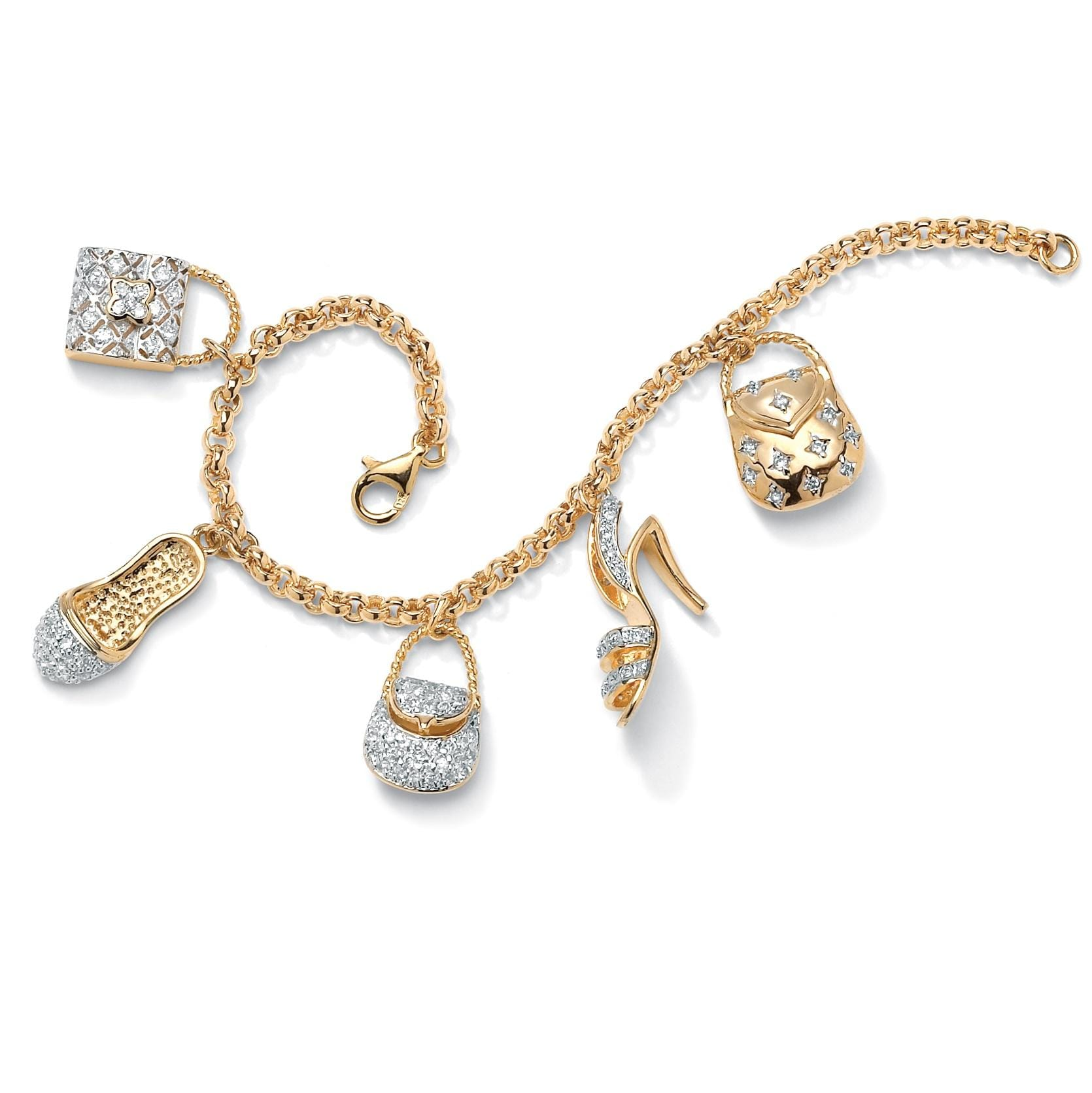 PalmBeach 1.53 TCW Cubic Zirconia Purses and Shoes Charm Bracelet in Yellow Gold Tone Glam CZ