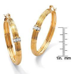 Ultimate CZ 14k Two-tone Goldplated Cubic Zirconia Hoop Earrings