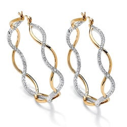 Isabella Collection Two-tone Clear Crystal Crossover Inside-out Hoop Earrings