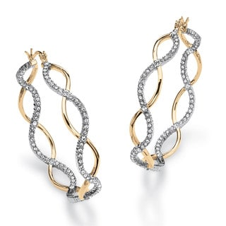 PalmBeach Crystal Two-Tone Crossover Inside-Out Hoop Earrings 14k Gold-Plated Bold Fashion