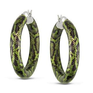 Miadora Sterling Silver Green Snake-Print Hoop Earrings with Bonus Earrings