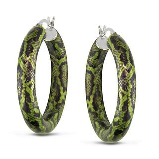 Miadora Sterling Silver Green Snake-Print Hoop Earrings