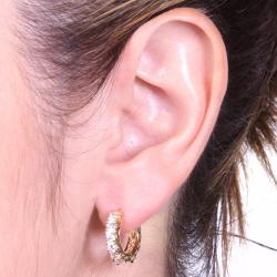 PalmBeach 2.40 TCW Round Cubic Zirconia Eternity Huggie-Hoop Earrings 14k Gold-Plated Classic CZ