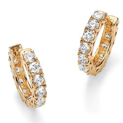 PalmBeach 2.40 TCW Round Cubic Zirconia Eternity Huggie-Hoop Earrings 14k Gold-Plated Classic CZ