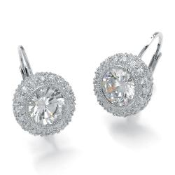 PalmBeach 5.02 TCW Round Bezel-Set Cubic Zirconia Platinum over Sterling Silver Drop Earrings Glam CZ