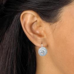 Ultimate CZ Platinum over Silver Cubic Zirconia Earrings