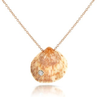 Annello 14k Gold over Silver Diamond Accent Seashell Necklace