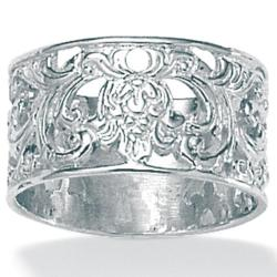 Palmbeach High-polish Sterling Silver Filigree Band