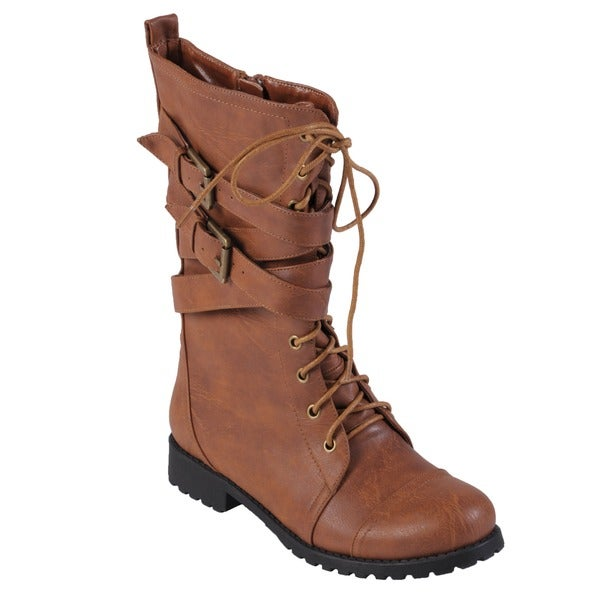 Hailey Jeans Co. Women's 'Jimba-32' Lace-Up Buckle-Strap Combat Boots