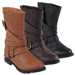 Journee Collection Women's 'Jimba-12' Faux Leather Buckle Boots