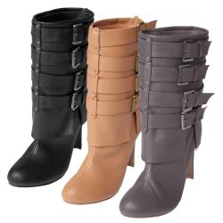 Hailey Jeans Co. Women's 'Lehi-44' Buckled Heeled Boots