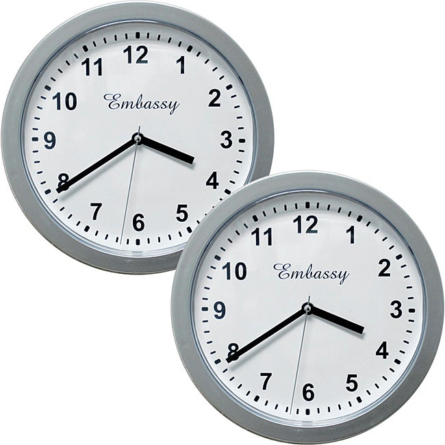 Silver 10-inch Wall Clock with Hidden Safe (Set of 2)
