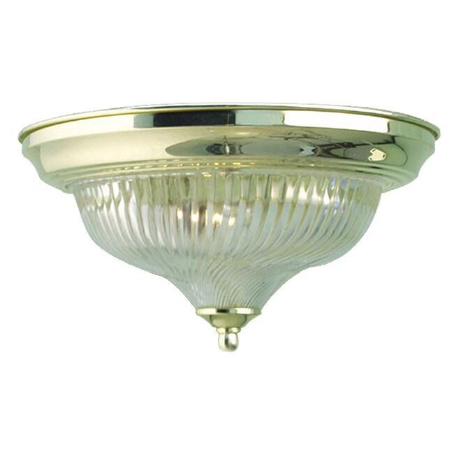 Woodbridge Lighting Basic 1-light Swirl Glass Polished Brass Flush Mount