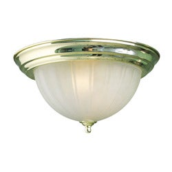 Woodbridge Lighting Basic 2-light Melon Glass Polished Brass Flush Mount