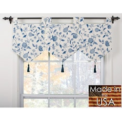 Calais Ivory/ Blue Banner Valances (Set of 3)