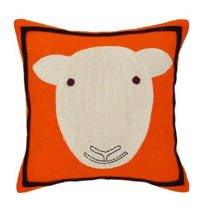 Orange Sheep Wool Decorative Pillow