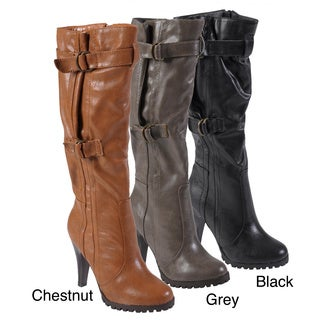 Journee Collection Women's 'Humble-01' Buckle Accent Mid-calf Boots