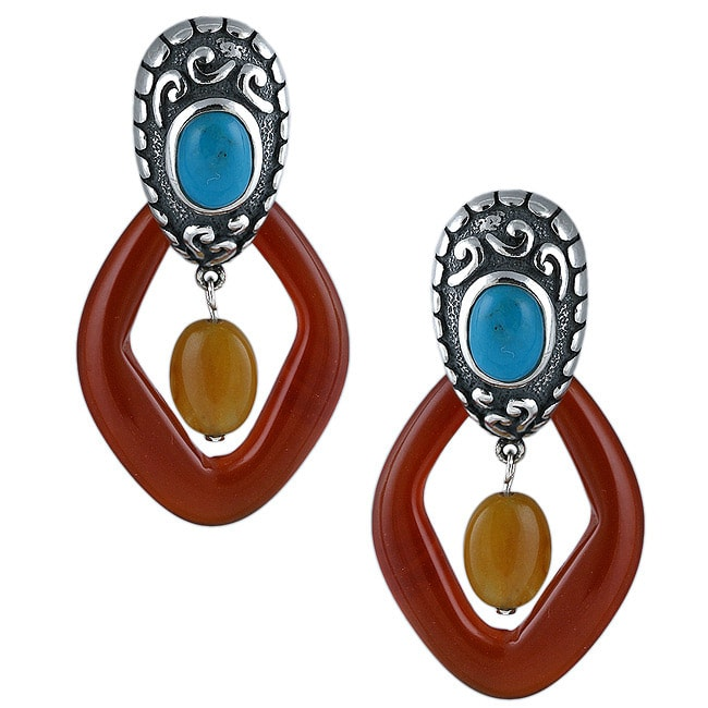 Southwest Moon Sterling Silver Turquoise, and Agate Earrings