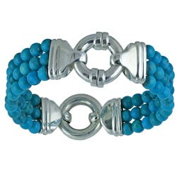 Southwest Moon Sterling Silver 3-Row Turquoise Bead Bracelet