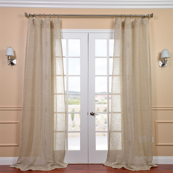 EFF Linen Open Weave Natural 120-inch Sheer Curtain Panel