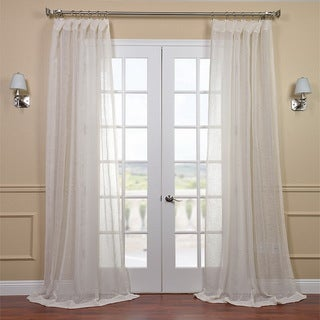 Linen Open Weave Cream 120-inch Sheer Curtain Panel