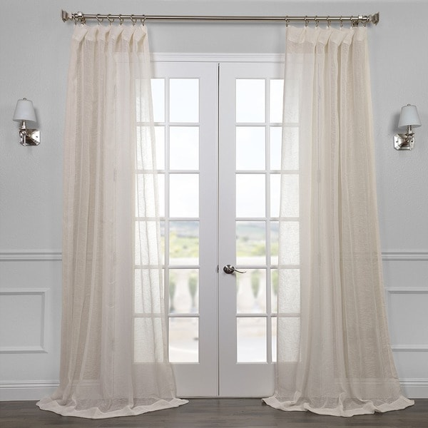 Linen Open Weave Cream Sheer Curtain Panel
