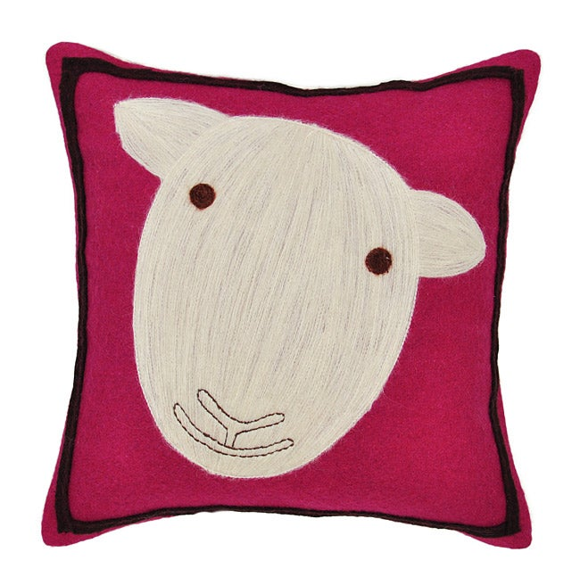 Pink Sheep Wool Decorative Pillow
