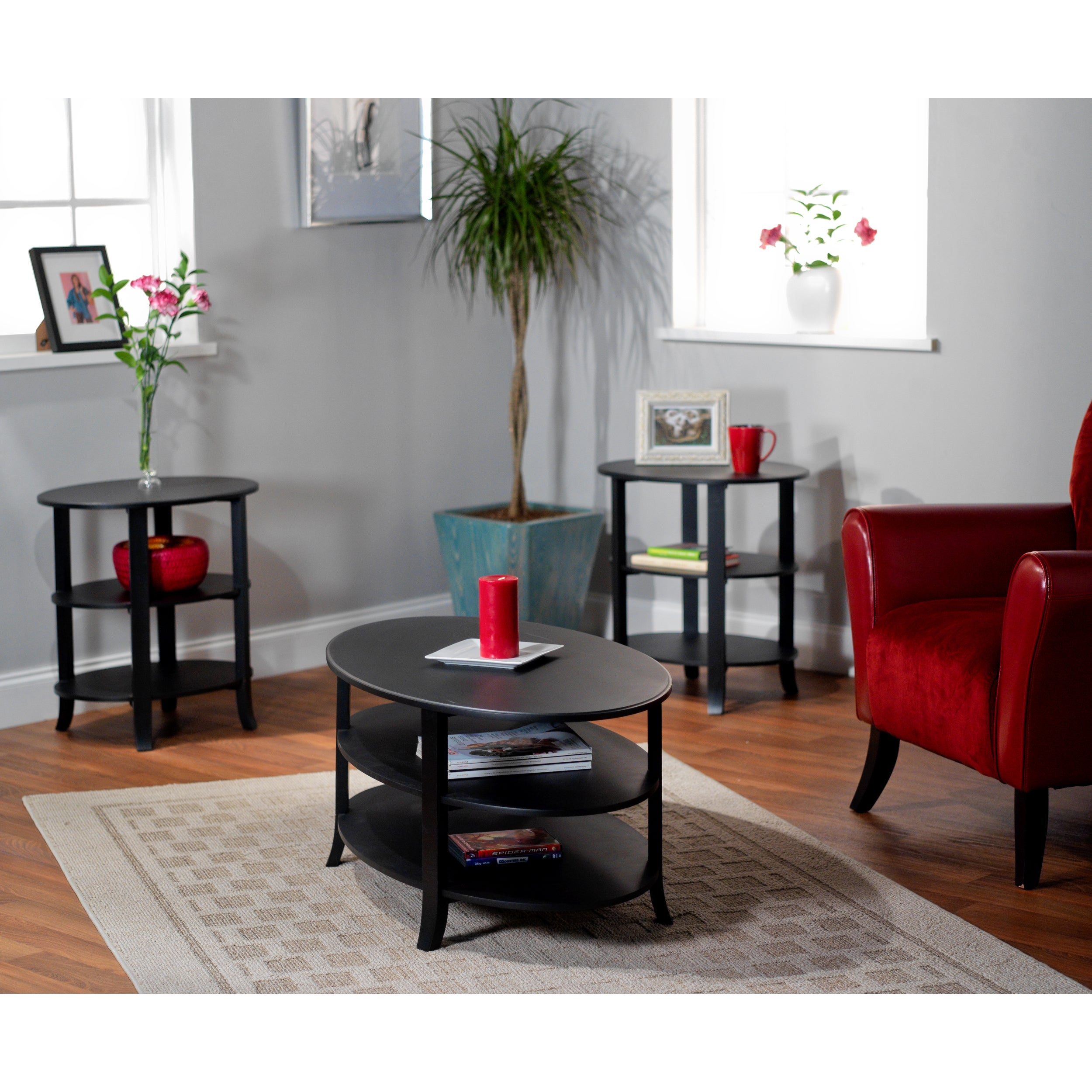 3 Piece Oval Coffee Table Set: Simple Living Black Oval 3-piece Coffee, End And Hall