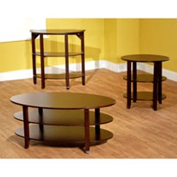 Espresso Oval 3-piece Coffee, End and Hall Tables
