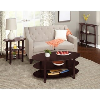 Simple Living Espresso Oval 3-piece Coffee, End and Hall Tables