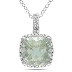 Miadora Sterling Silver Green Amethyst and 1/10ct TDW Diamond Necklace(G-H, I3)