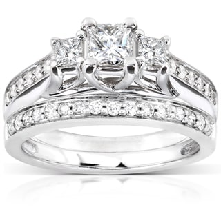 Annello 14k White Gold 4/5ct TDW Diamond Bridal Ring Set (H-I, I1-I2)
