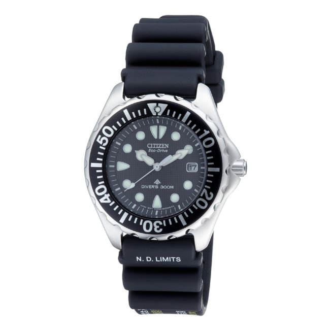 Citizen Men's Eco-Drive Professional Diver Black Rubber Strap Watch
