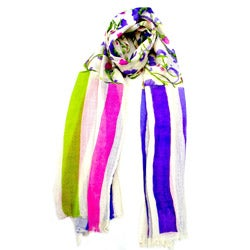 Floral and Stripe Sheer Cashmere Scarf