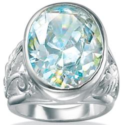 PalmBeach Sterling Silver Aurora Borealis Cubic Zirconia Ring Color Fun