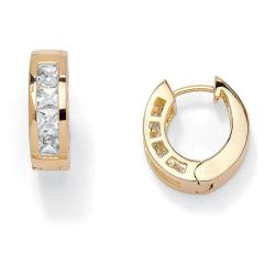 PalmBeach CZ 14k Gold Overlay Cubic Zirconia Hoop Earrings Classic CZ